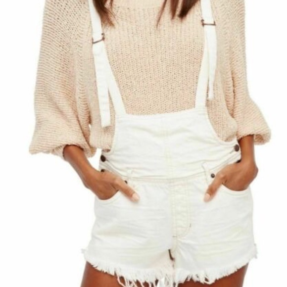 Free People Pants - Free People White Jean Overall Shorts